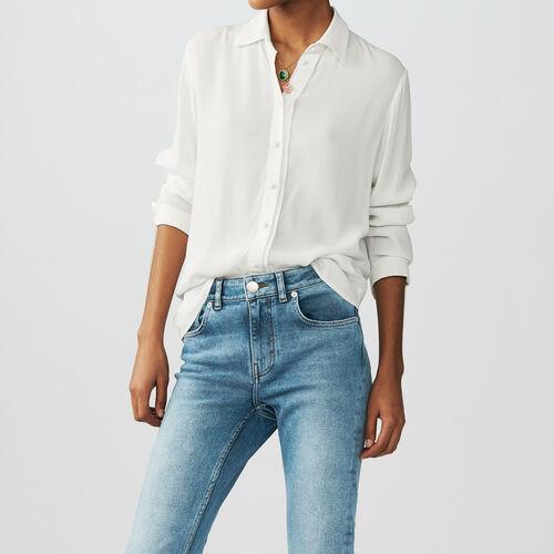 Flowing long-sleeved shirt : Tops color Ecru