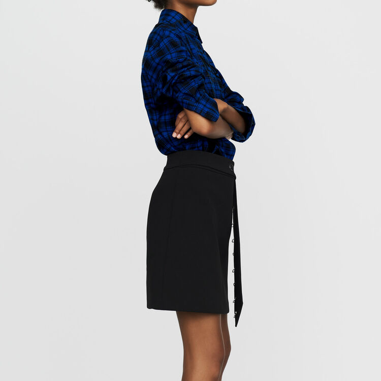 Short crepe eyelet skirt : New Collection color Black 210