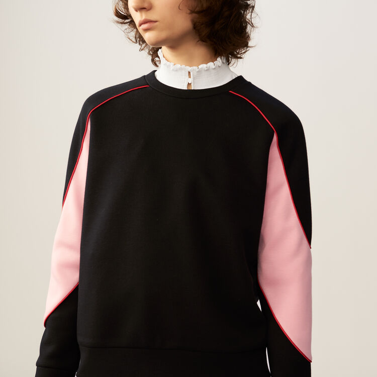 Sweatshirt with colorful details : Knitwear color Black 210