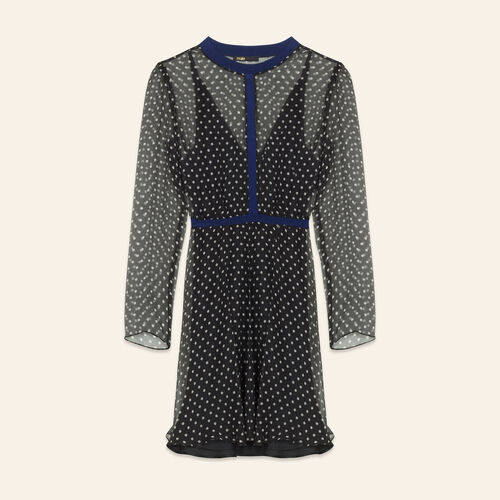 Polka-dot silk chiffon dress : Dresses color Print
