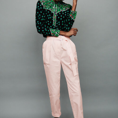 Belted high-waist trousers : Trousers color Pale Pink
