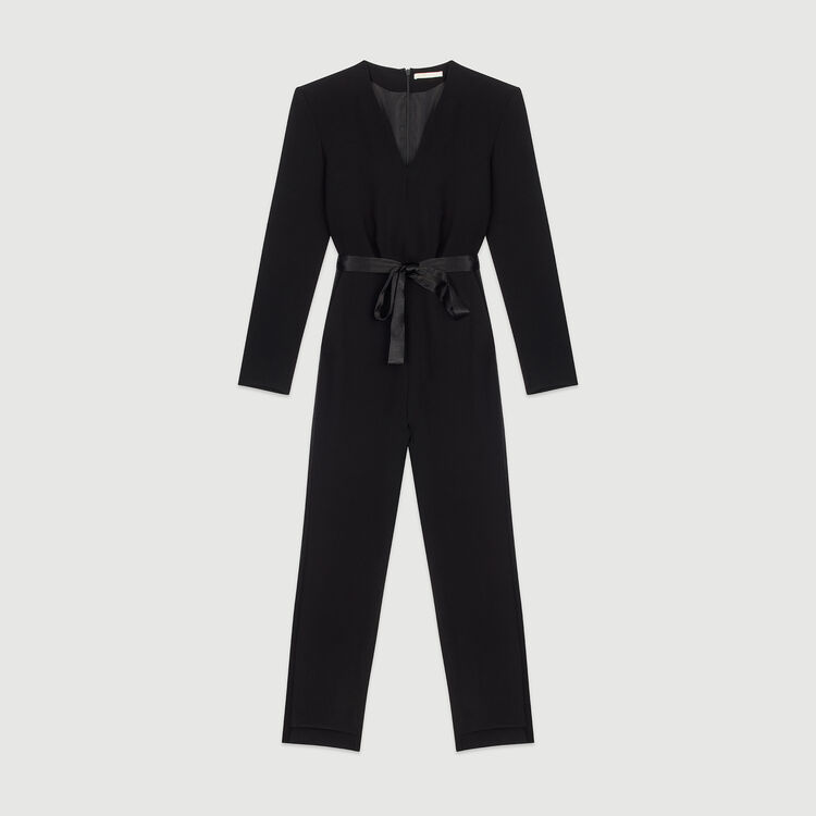 Crepe jumpsuit : Trousers & Jeans color Black 210