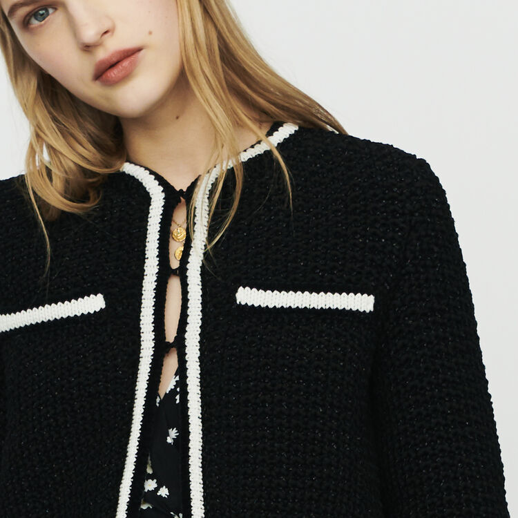 Cropped wool cardigan : Pullovers & Cardigans color Black 210