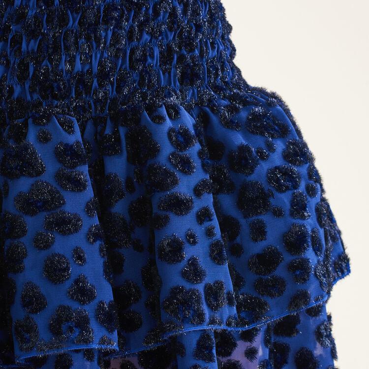 Leopard-print strapless dress : Dresses color Blue