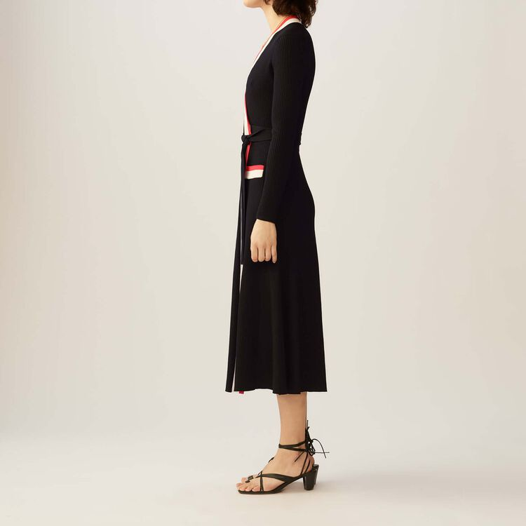 Maxi knit wrap dress : Dresses color Black 210