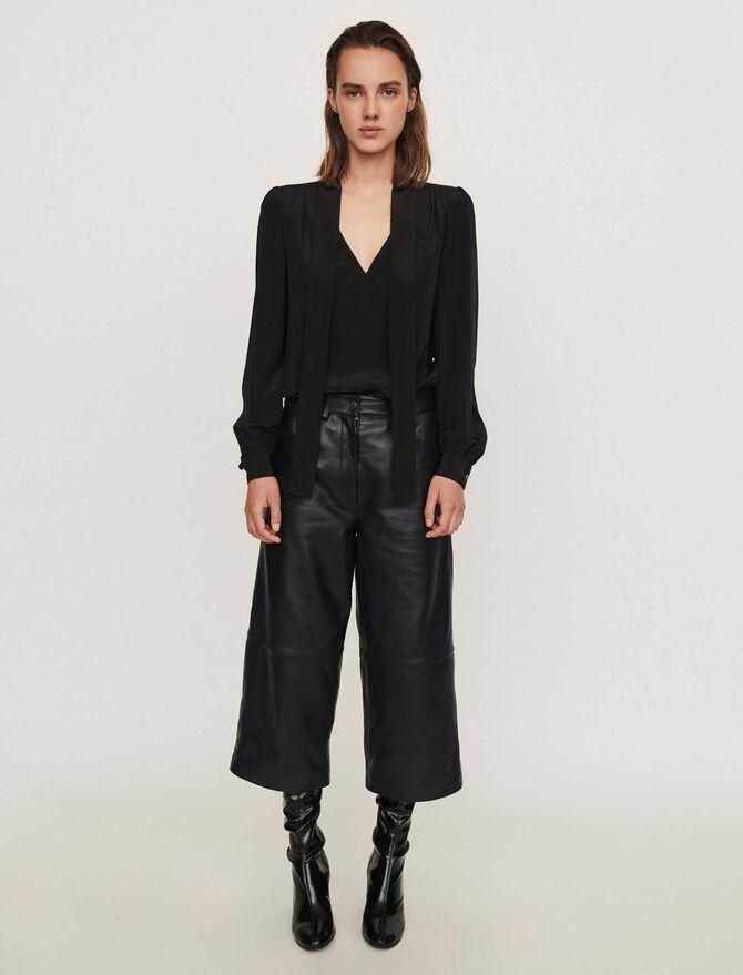 Leather bermuda-like pants - See all - MAJE