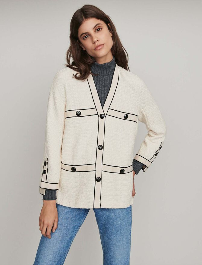 Tweed-style contrast jacket -  - MAJE