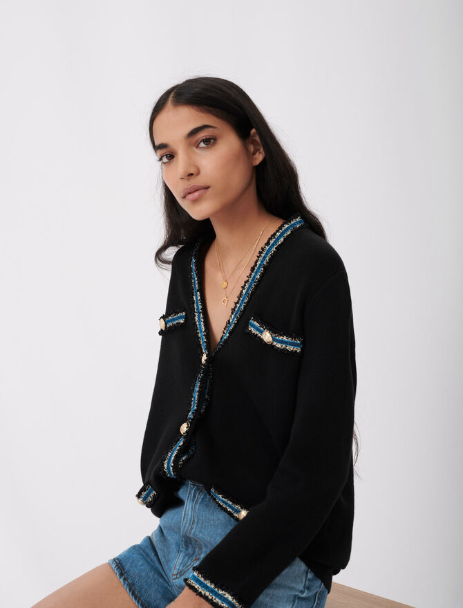 Knitted cardigan with velvet - Pullovers & Cardigans - MAJE