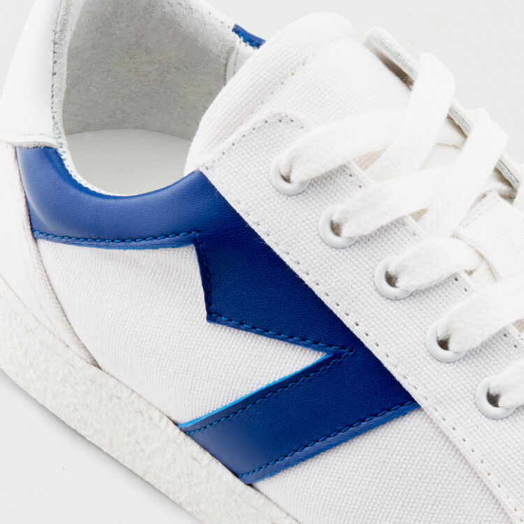 Leather sneakers with contrast M : Shoes color Blue