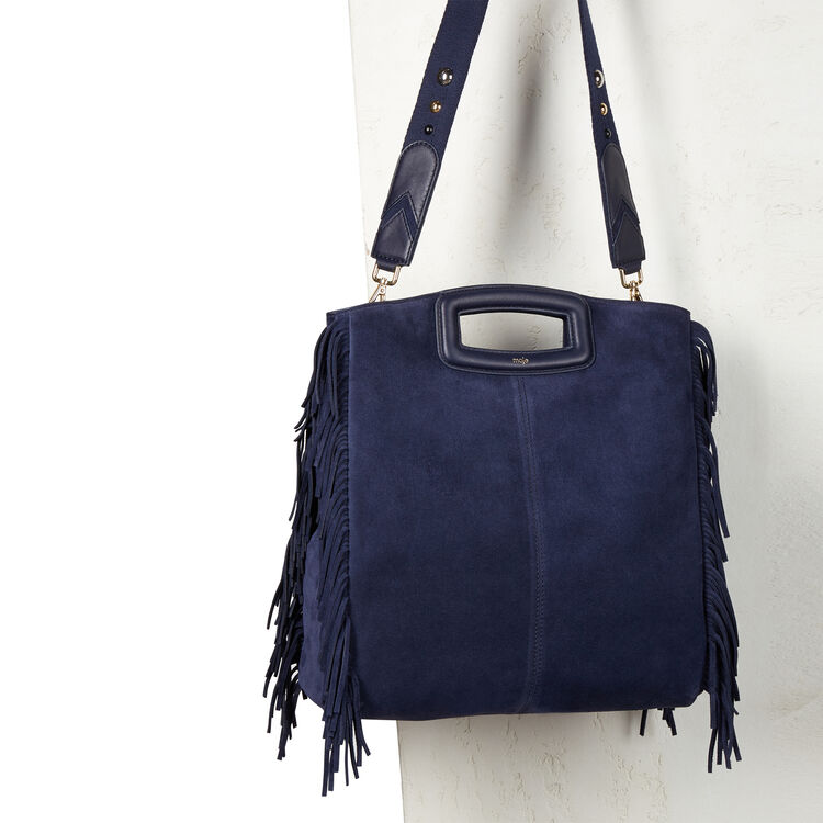Suede leather bag with fringing : bordeaux color