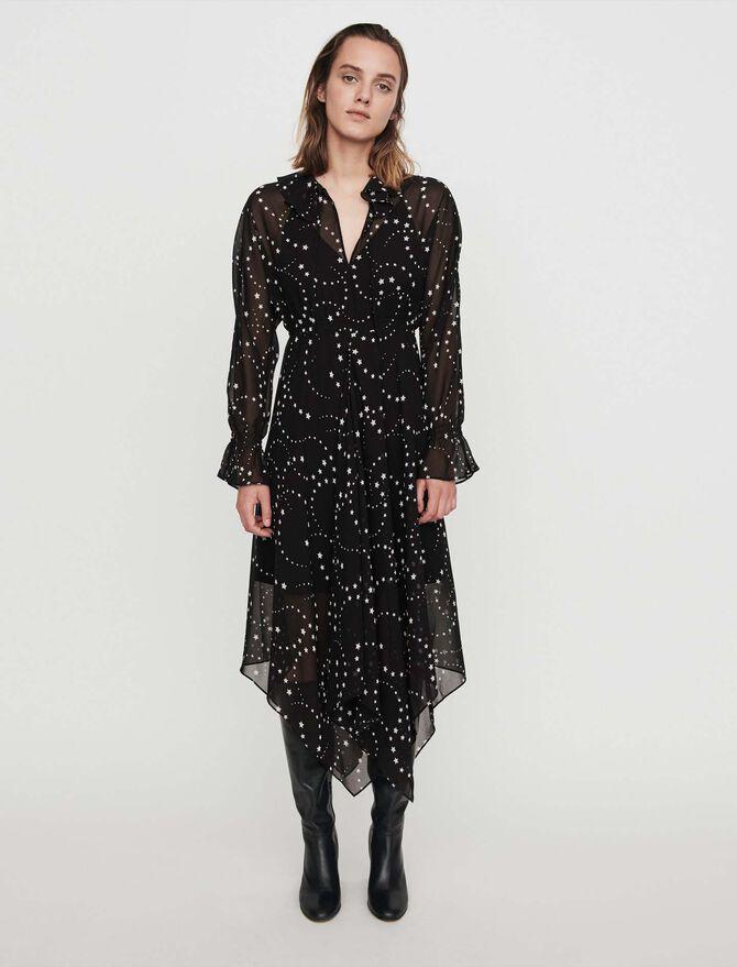 Printed-muslin scarf dress -  - MAJE