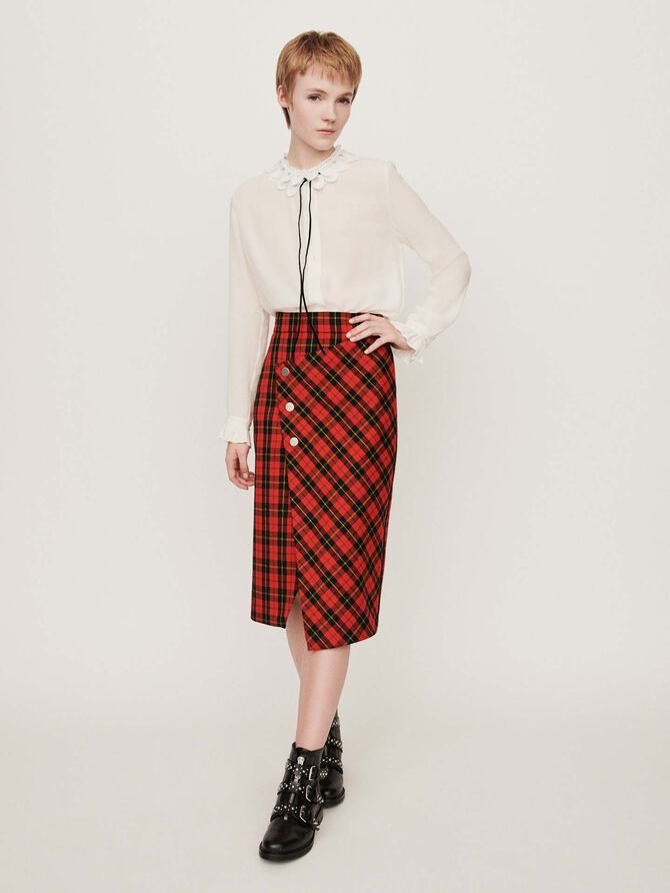 Asymmetrical plaid skirt - SoldesBE_50 - MAJE