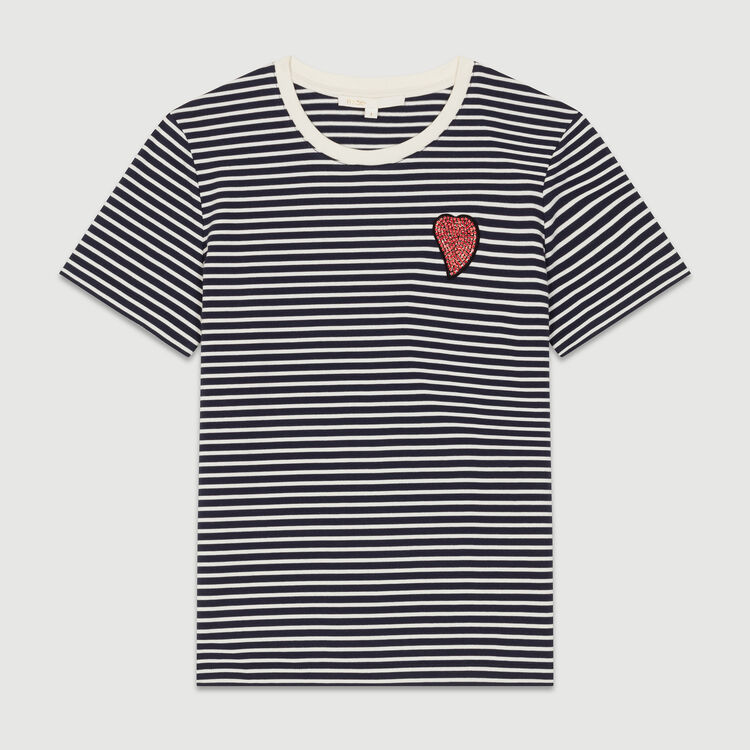 Striped t-shirt with heart badge : T-Shirts color Stripe