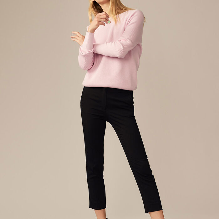 Viscose straight-leg trousers : Trousers color Black 210