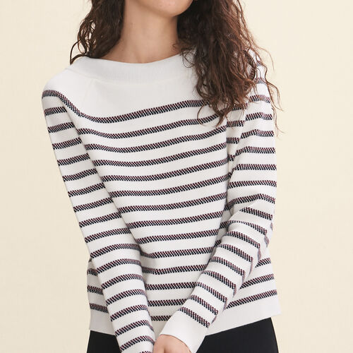 Wool blend Breton jumper : Sweaters & Cardigans color Ecru