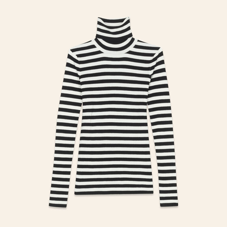 Striped roll-neck jumper : Knitwear color Two-Tone