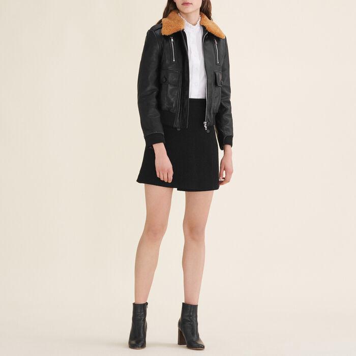 Aviator-style leather jacket - Jackets - MAJE