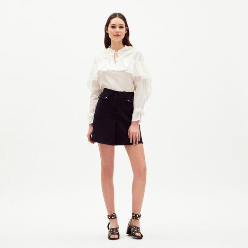 Flounces blouse printed : Tops color White