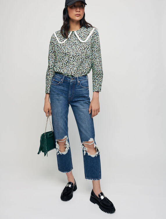 Printed cotton shirt with large collar - All the collection - MAJE