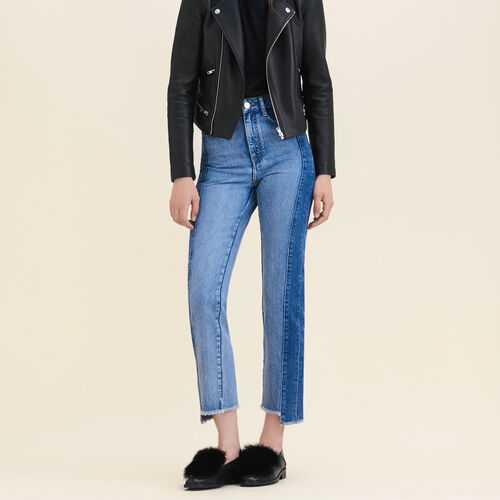 Straight-cut faded denim jeans : Trousers & Jeans color Blue