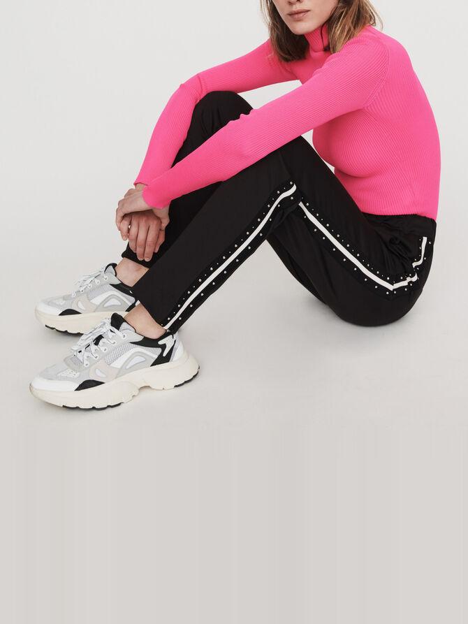 Studded pants with contrasting stripes - -40% - MAJE