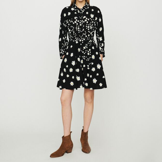 Dress with mixed daisy print - See all - MAJE