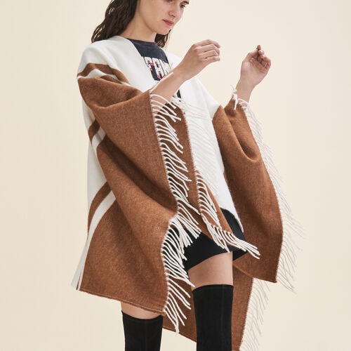 Two-tone fringed poncho - Scarves - MAJE