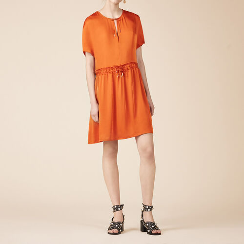 Floaty short-sleeved dress : See all color Orange