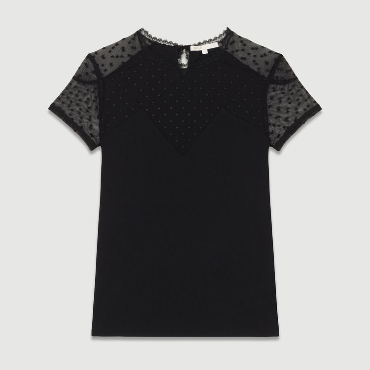 T-shirt with Swiss dot inlay : T-Shirts color Black 210