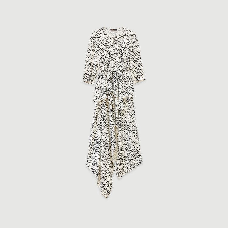 Jacquard-printed asymmetrical dress : Dresses color White
