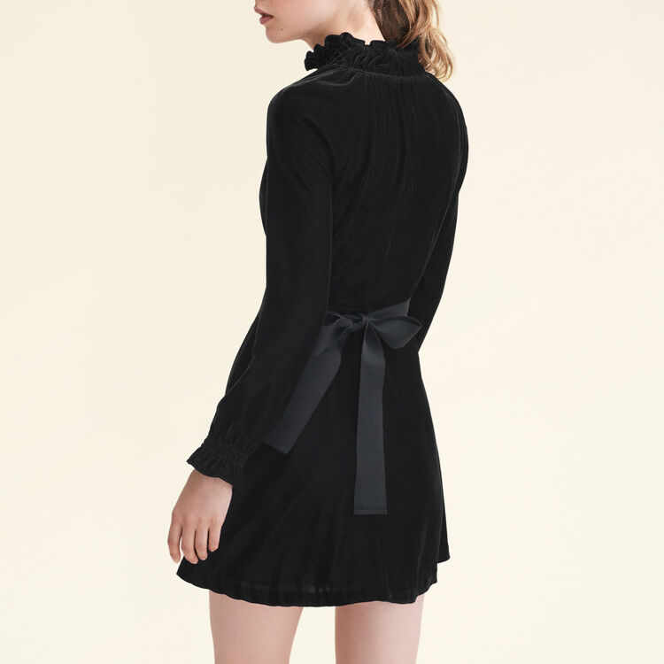 Velvet dress with belt : Dresses color Navy