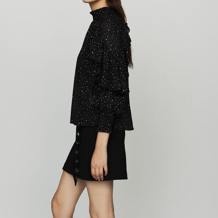 Ruffle shirt with polka : Shirts color BLACK