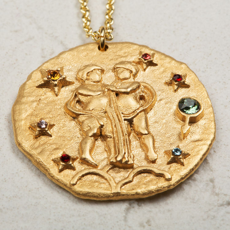 Gemini zodiac sign necklace : Summer Collection color GOLD
