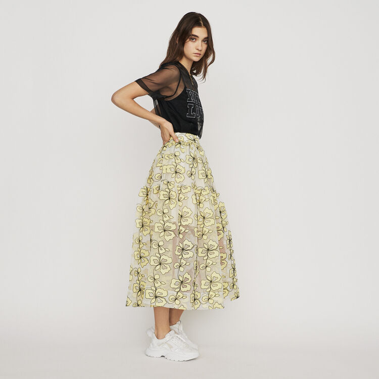 Organza skirt with flowers : Skirts & Shorts color Yellow