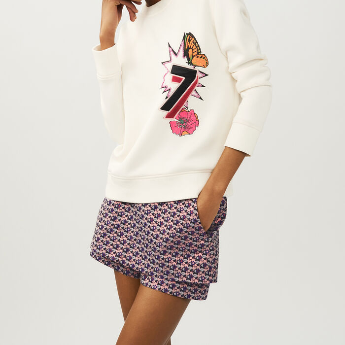 Quilted print sweatshirt : Knitwear color ECRU