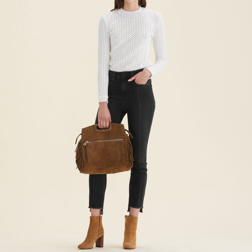 Straight-cut jeans with asymmetric hem : 70% off color Black 210