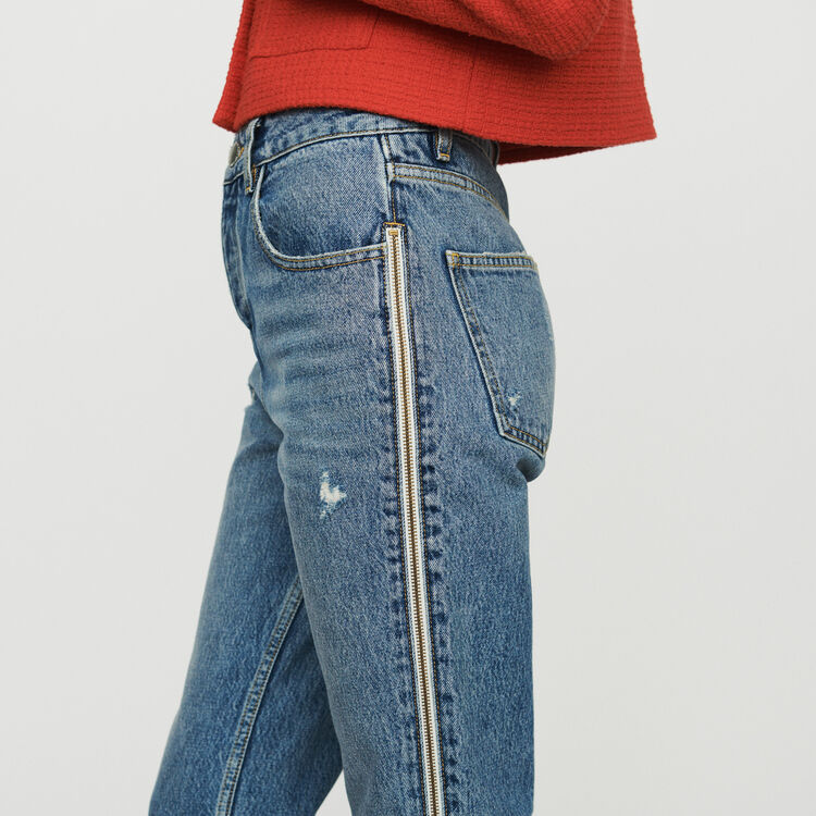 Straight jeans with zip : Jeans color Denim