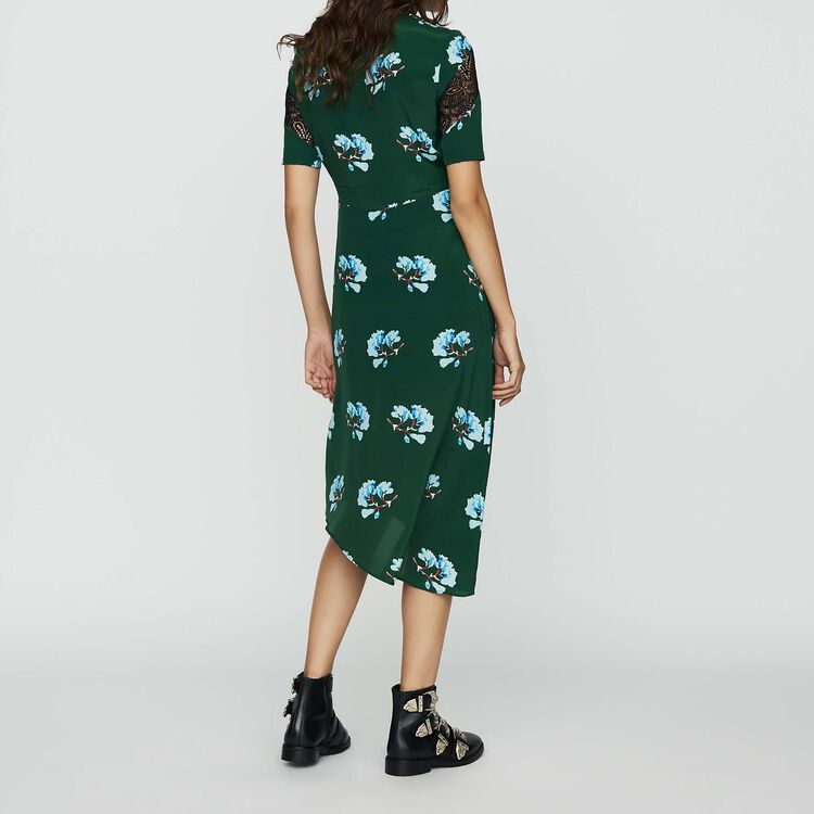 Asymmetric printed dress with lace : Dresses color PRINTED