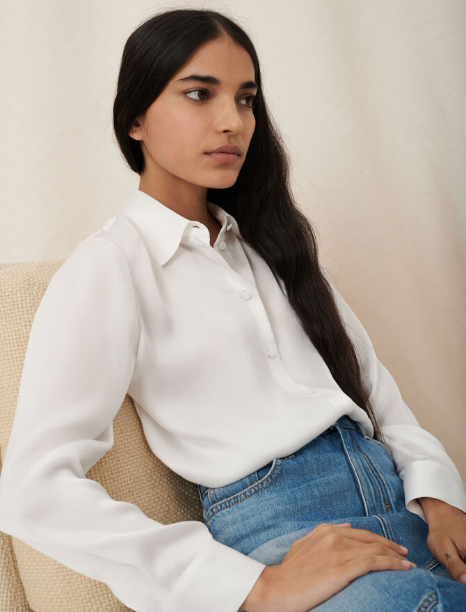 White silk shirt - Ready to wear - MAJE