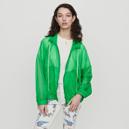 Light hooded windbreaker : Coats color Green