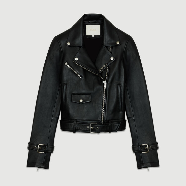 Biker-style leather jacket : Jackets color BLACK