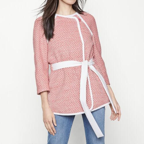 Jacquard coat that ties at the waist : Coats color Jacquard