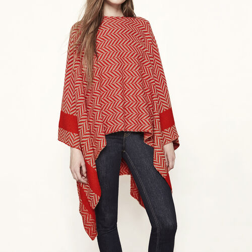 Jacquard knit poncho : Sweaters & Cardigans color RED ORANGE