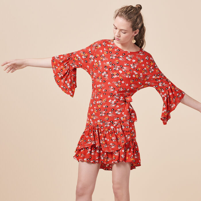 Printed dress with frills - Alles einsehen - MAJE