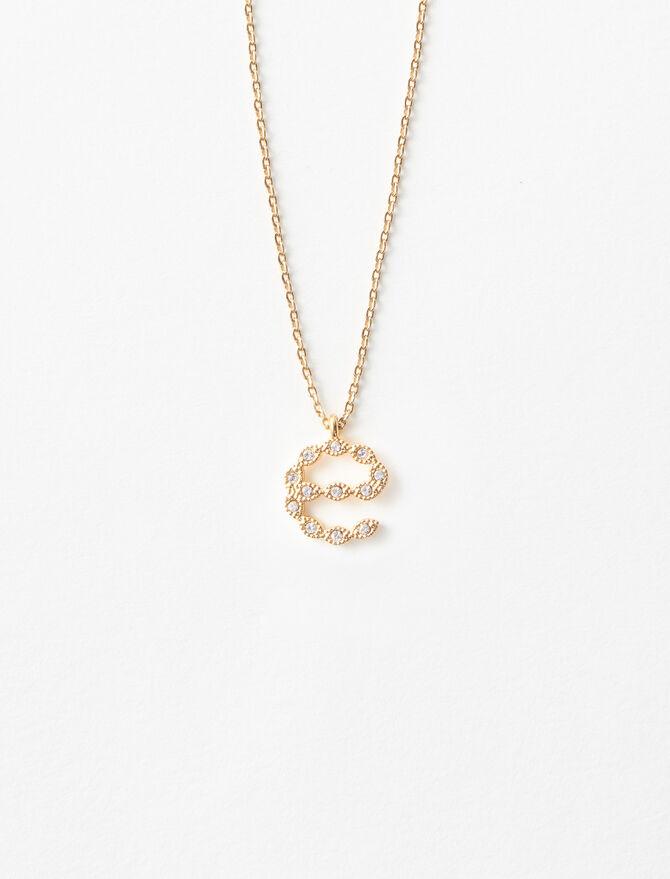 Rhinestone E necklace -  - MAJE