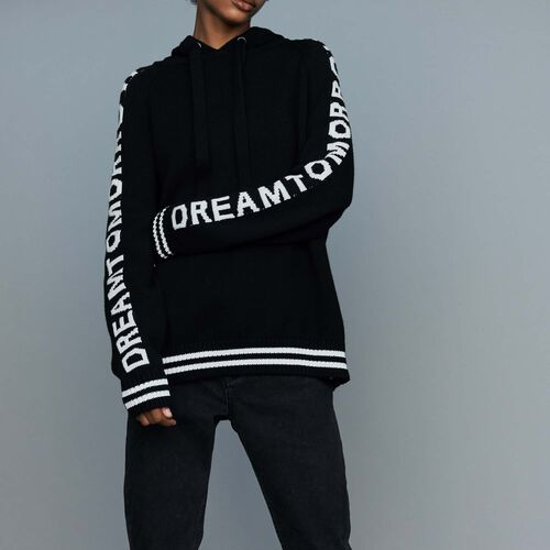 Oversize hooded graphic sweater : Sweatshirts color Black 210