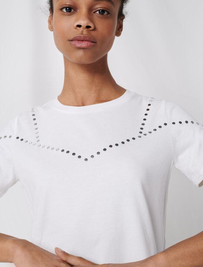 Studded white T-shirt - T-Shirts - MAJE