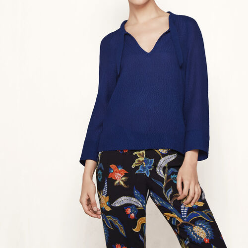 Waffle silk blouse : Tops color Blue