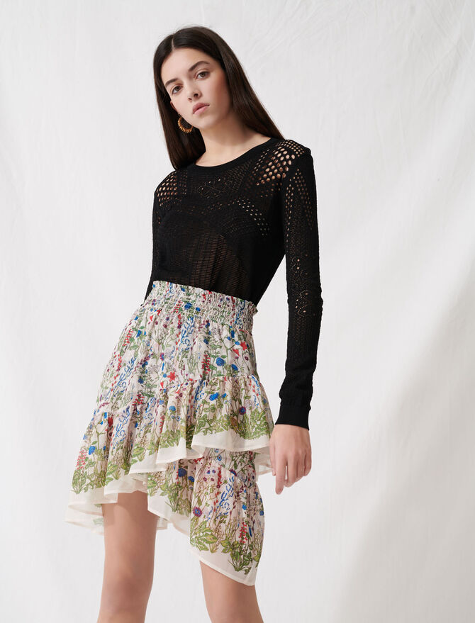 Bucolic skirt with ruffles and smocks - Skirts & Shorts - MAJE