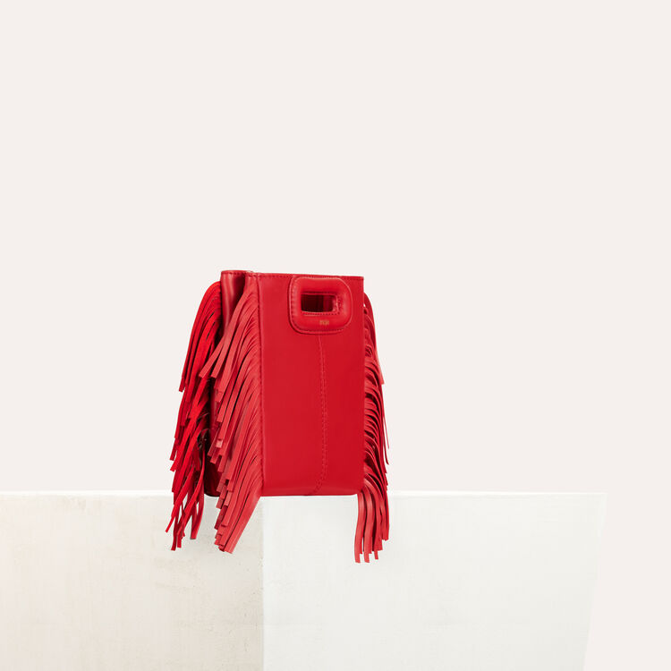 Fringed suede M minibag : Collection color RED